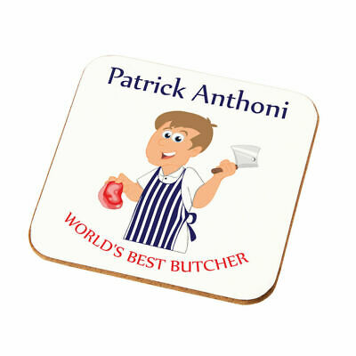 Personalised Worlds Best Butcher Coaster Gift Son Husband Uncle Butcher Present