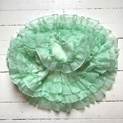 Vintage toddler baby Sheer Twirl Party Easter mint ruffle dress