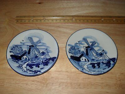 Pair Of Vintage 4.25 Inch Delft Plates