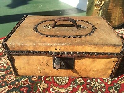 RARE Antique Early Studded Pony Hide Chest Lock Box Small Trunk