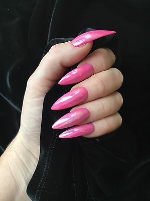 Hand  Painted FALSE NAILS X Long Stiletto Pink Holographic Glitter STICK ON