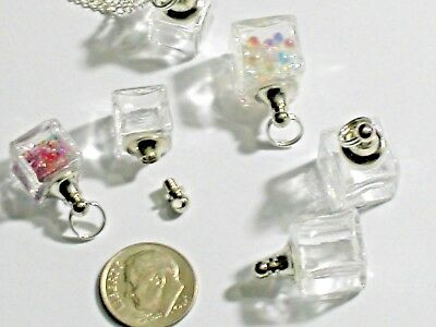 1 small Ice Cube Glass Crystal Bottle fairy dust Locket vial Screw cap top 11mm