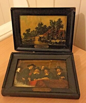 2 x SMALL OIL on BOARD PAINTINGS FRAMED - REMBRANDT THE SINDICCI & HOBBEMA WATER