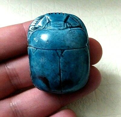 Rare Ancient Egyptian Antique blue glassy faience large scarab (1069–332 BC)