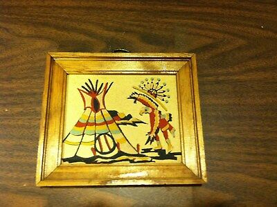 """Native American Authentic Navajo Sand Painting """"The Eagle Dance Ceremony"""""""
