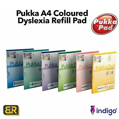 Coloured Pukka Refill Pad A4 Comfort Colour Irlen Lined Paper Notebook Dyslexia