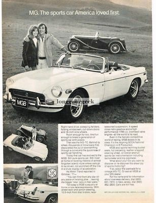 1972 MG MGB White Convertible Sports Car America Loved First Vtg Print Ad