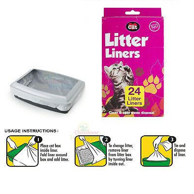 24 Pack Cat Litter Tray Liners Kitten Hygienic Standard Pet Waste Disposable Bag