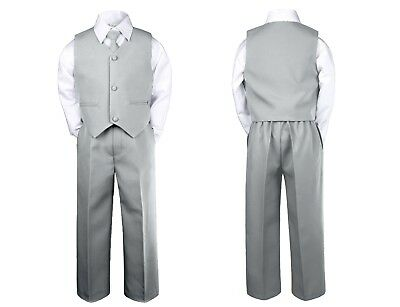 4pc Baby Boy Toddler Wedding Easter Formal Party Gray Silver Vest Suit set Sm-7