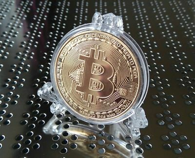 Bitcoin Gold Crypto Coin Collectable Novelty Gift Plus Elegant Display Stand x1