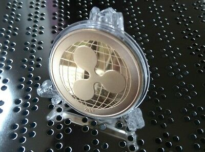 Ripple XRP Gold Coloured Coin x1 Novelty Gift Coin + Elegant Display Stand
