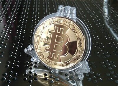 New Bitcoin 2018 Coin Collectable Novelty Gift Plus Elegant Display Stand x1