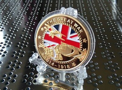 World War I Gold Coin x1 Souvenir Commemorative Gift Complete With Display Stand