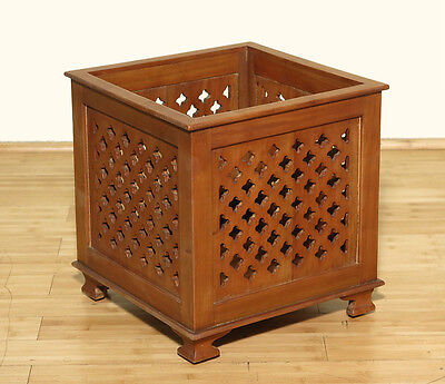 Vintage Solid Mahogany Office Clover Recycle Bin Trash Can Planter B