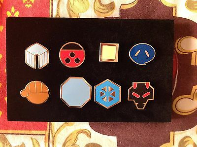 ALL 8 Of Pokemon Johto Gym Badges Metal Pins from Gen 2 Great quality US Seller