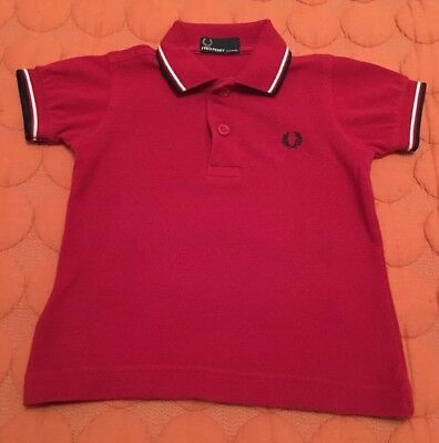 Boys Fred Perry Polo Red Aged 6-12months