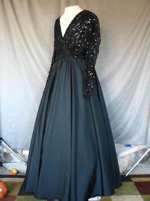 Victorian Dress Edwardian Civil War Style Black Gown Long Sleeves Lace and Satin