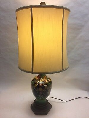 Antique Chinese Brass Ming Dragon Cloisonne Vase Lamp w/ Chinese Coin Finial