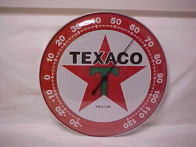 "Texaco Red Star 12"" Round Thermometer With Dome Glass Front"