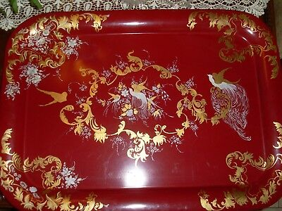 Huge Antique French Red Tole Tray, Bird of Paradise