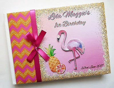 Flaming/tropical Personalised Birthday/baby Shower Guest Book - Any Design