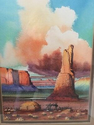 Native American Robert Draper Water Color with Large Mountian