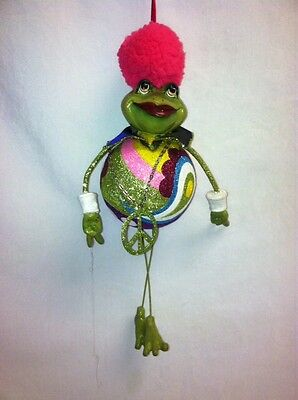 """katherine's collection frog Ornament Groovy dangle 9 1/2"""" x 4"""" pink hair"""