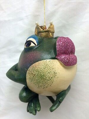 Katherine's Collection kissing frog pink lips 05-10676 retired prince king crown