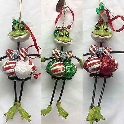 Katherine's Collection  frog spring ornament peppermint 18-81161 set of 3