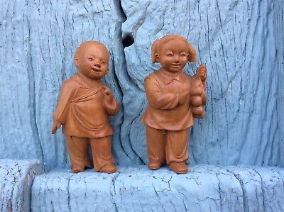 Charming Pair Japanese Chinese Carved Boxwood Mischievous Children Figures