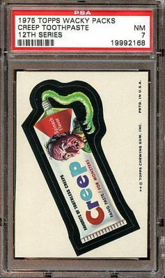 1975 Topps Wacky Packages CREEP TOOTHPASTE PSA 7 NM Series 12 Packs TOUGH!