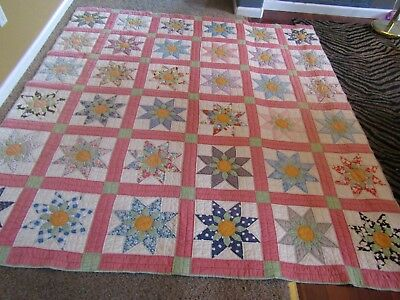 Vintage Daisy / Stars QUILT Beautiful Colors and Design.  87X81