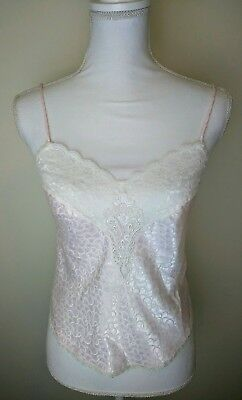 Christian Dior Lingerie Cami Camisole Tank Top Lace Pink Size S Vintage