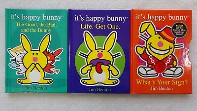 Set of 3 It's Happy Bunny Hardcover Books by Jim Benton