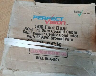 PERFECT Vision Dual RG6 75 ohm Coaxial Cable With Attached 17 awg Ground Wire