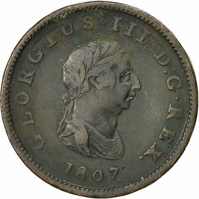 [#522548] Great Britain, George III, 1/2 Penny, 1807, EF(40-45), Copper, KM:662