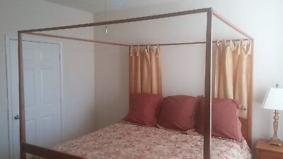 King Size 4 Poster Bed Frame Shaker Style Solid Natural Cherry