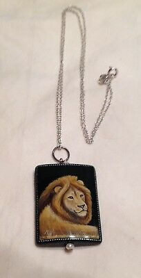 Vintage Russian hand painted portrait of lion on black onyx pendant w/chain.