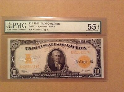 Large 1922 $10 Dollar Bill Gold Certificate Coin Note FR 1173 55 EPQ