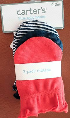 Carter's Baby Boys 3 Pack Mittens Red/Navy/Stripe 0-3 Mo