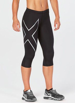 2XU Women's 3/4 Compression Tights - LARGE - Black/Silver (Up to 75% off MSRP)