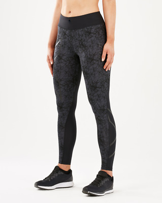 2XU Women's PTN Mid-rise Compression Tights - EXTRA SMALL - Black/Vein