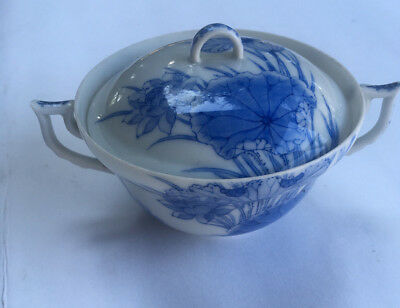 Chinese Export Porcelain Covered Bowl Blue And White Lotus Lily