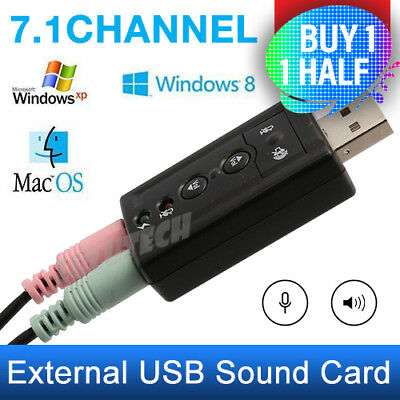 USB Audio Sound Card Adapter External 3D VIRTUAL 7.1CHANNEL For PC LAPTOP WIN7 8