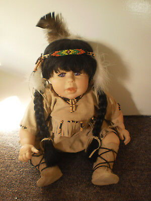 Purple Eyed Indian Girl Porcelain Doll - Hand painted