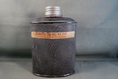 Antique Gray Graniteware 1 Pint Miner's Whisky/Coffee Flask,Original Label,Minty