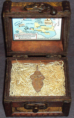 Ancient Late Medieval Bronze Cross Pendant Relic with Display Chest! 13-17th C.