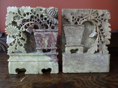 Antique Chinese Soapstone Bookends, Urn Of Flowers
