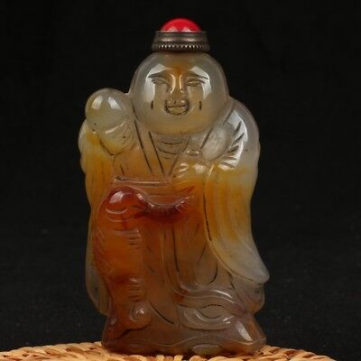 Chinese Exquisite agate Hand carved pted boy snuff bottle