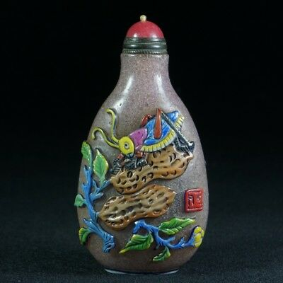 Chinese Exquisite Glass handmade cockroach snuff bottle